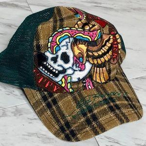 Ed Hardy Flannel Trucker Style Hat